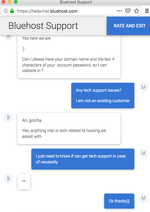 Bluehost.com support chat