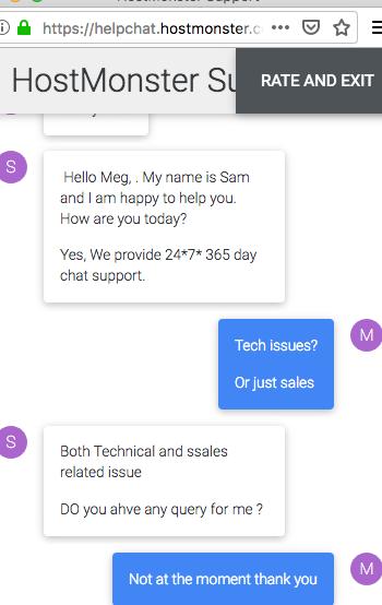 HostMonster.com support chat