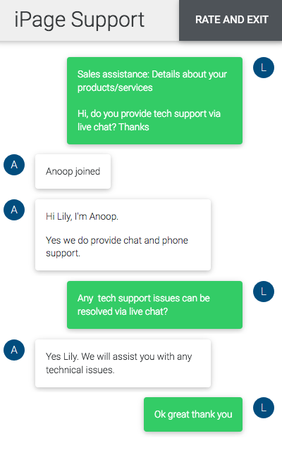 iPage.com support chat