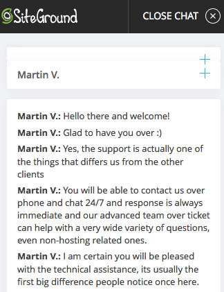 Siteground.com support chat
