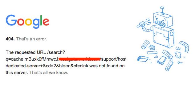 Google 404 cache error